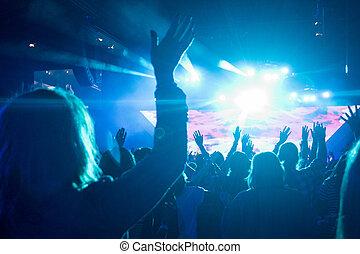 concert, femme, rocher