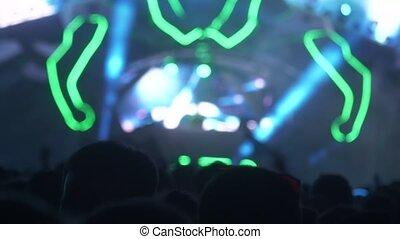 concert., festival, musique, lot, gens