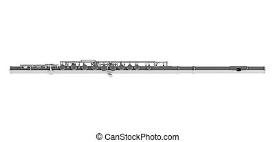 Concert flute or Transverse flute, Boehm flute, C flute isolated on white background