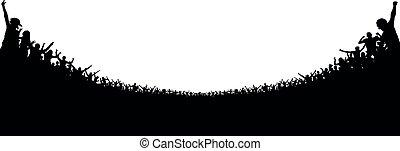 concert., futebol, aplauso, torcida, pessoas, audience., clapping, silhouette., alegre, ventiladores, aplaudido, fundo, fans., partido, esportes, stadium.