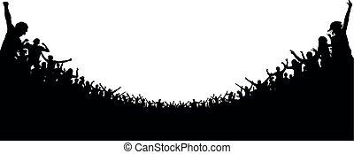 concert., futebol, aplauso, torcida, pessoas, fans., clapping, ventiladores, silhouette., alegre, audiência, aplaudido, fundo, esportes, partido., stadium.