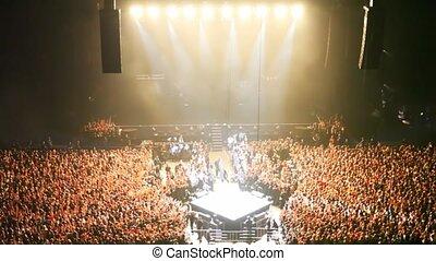 concert, gens, lumière, scène, salle, rempli