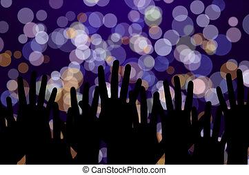 concert, gens, mains, fête, lumières, musique, nuit