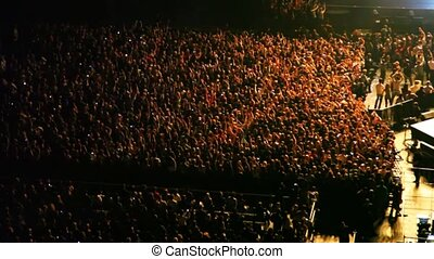 concert, gens, vague, étape, musique, mains, salle