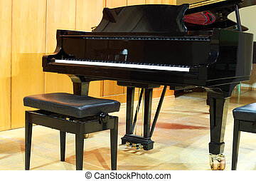 Concert grand piano and regulated black bench in light hall