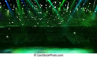 concert green light confetti - color spotlight in the...