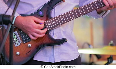 concert., gros plan, prise vue., guitare jouer, homme
