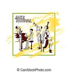 concert., gry, ilustracja, afisz, abstrakcyjny, jazz, odizolowany, żółty, akwarela, banda, wektor, tło., tło, biały, stain.