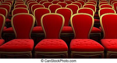 concert hal, met, rood, zetel
