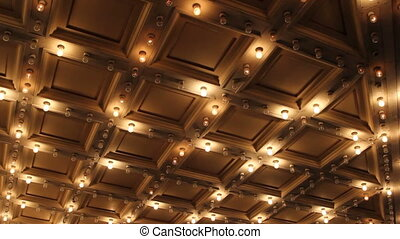 Theater and Concert Hall Ceiling with Retro Flashing Marquee Lights in Downtown 1080p