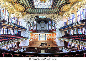 Concert Hall in Music Palace by Gaudi, Barcelona, Spain - ...