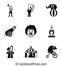 Concert in circus icons set, simple style