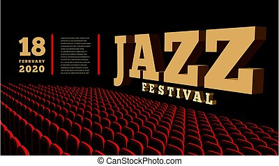 concert jazz, vecteur, 3d, hall., illustration., musique, festival.