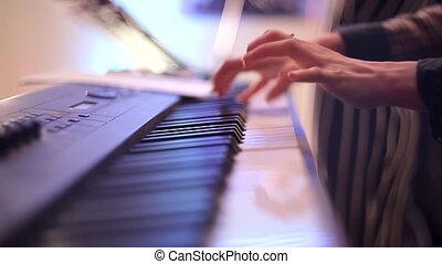 concert., jeux, clés, musicien, synthesizer., doigts, ...