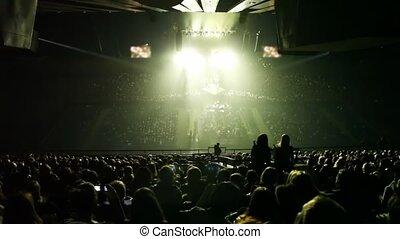 concert, licht, scène, balken, panorama, zaal