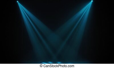 Concert lights. Lighting effects on a theater stage at night. Stage lights shine in the circus arena. Lighting equipment with blue beams