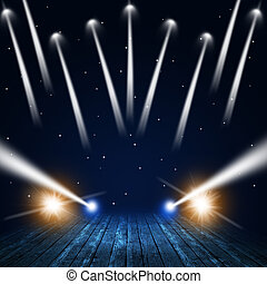 Concert Lights - music concert background with spotlights on...