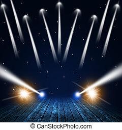 Concert Lights - music concert background with spotlights on...
