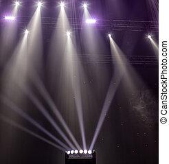 concert., luce, scena, durante