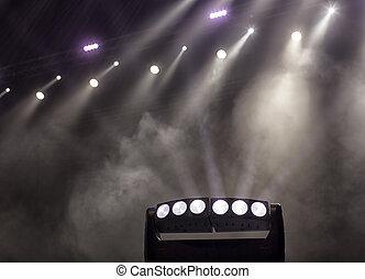 concert., lumière, scène, pendant