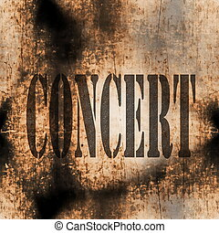 concert music word, old rusty wall