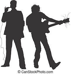 CONCERT - MUSICIANS - SILHOUETTES - Dark image outlined...