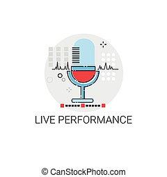 concert, opvoering, microfoon, leven, pictogram
