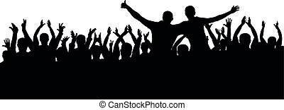 Concert, party. Applause crowd background silhouette, cheerful people. Funny cheering, isolated vector