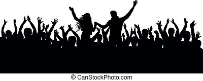 Concert, party. Applause crowd silhouette, cheerful people. Funny cheering, isolated vector