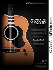 concert, plakat, gitarre, hintergrund, akustisch, schablone