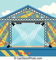 concert., plat, straatfeest, gebeurtenis, rots, lights., ...