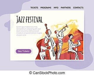 concert., poster., 祝祭, ジャズ, ヘッダー, 四つ組, サイト, ベクトル, 音楽, テンプレート, デザイン, 旗, ∥あるいは∥, illutration