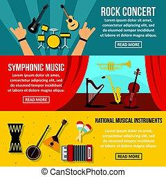 Concert poster banner horizonatal set, flat style