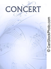 concert poster - musical background with softed notes and...