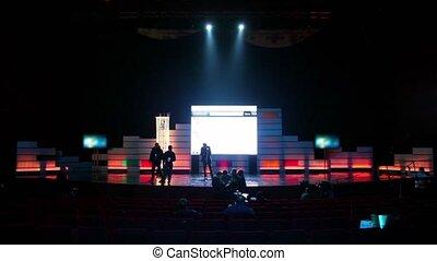 concert, préparer, gens, événement, sombre, plusieurs, salle, avant