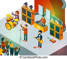 Concert scene. Isometric rock band singing people entertainment crowd vector concept