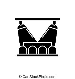 Concert show black icon, vector sign on isolated background. Concert show concept symbol, illustration