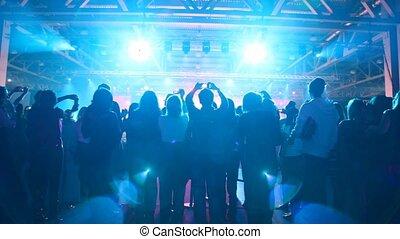 concert, silhouette, regard, gens