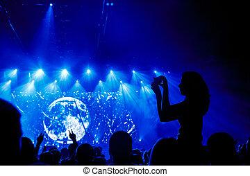concert., smartphone, haut, enregistrement, vidéo, fin, pendant