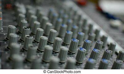 concert, son, fin, mélangeur, haut, console