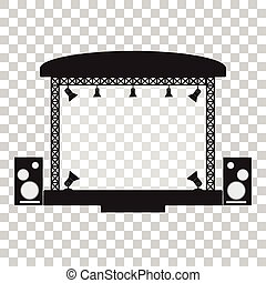 Concert stage and musical equipment simpl flat design.