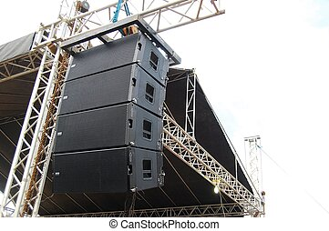Concert Stage Audio Speaker - Photograph image of a stage...