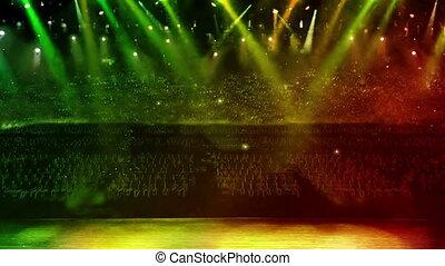 concert stage green spotlight