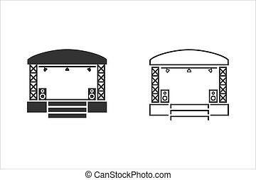 Concert stage line icon set on white. Vector illustration