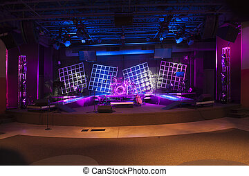Concert Stage lit and ready - Stage set with acoustic guitar...