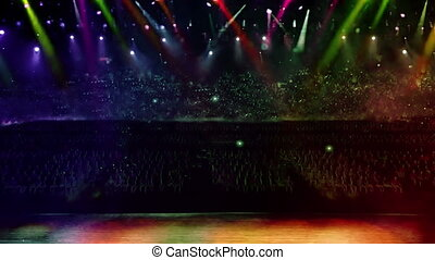 concert stage spotlight with flash