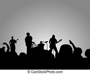Concert - Rock concert silhouette with band and crowd.