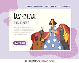concert., tercet, poster., święto, jazz, chodnikowiec, występuje, umiejscawiać, wektor, muzyka, szablon, projektować, chorągiew, albo, illutration