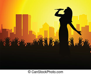 Concert - The woman the singer sings at a concert. A vector...