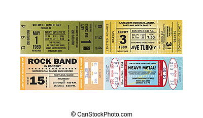 Concert Ticket Vectors - Four concert tickets as vectors.
